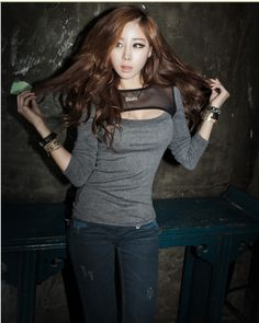 Sexy Hollows Long Sleeve T-Shirt for Women Gray on BuyTrends.com, only price $8.75