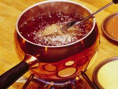 Beef fondue - discovered this at the Melting Pot!  So much better than oil!!!