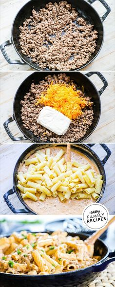 Homemade Cheeseburger Pasta is one of our favorite family meals! It is rich creamy and comforting. Packed with two kinds of cheese savory ground beef and tender pasta it comes together in just one skillet and packs a powerful punch for taste!