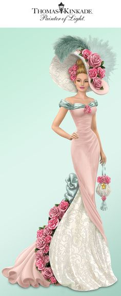 Take a stroll through a rose garden that's forever in bloom with this Thomas Kinkade elegant lady figurine!