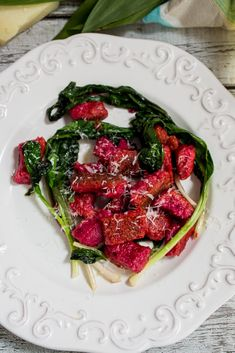 Beet Ricotta Gnocchi with Ramps - The Girl in the Little Red Kitchen