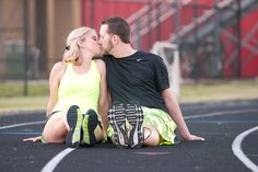 Running-themed engagement photos