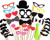 Wedding Photo Booth Props - 32 piece prop set - Birthdays, Weddings, Parties - Photobooth Props. $35.00, via Etsy.