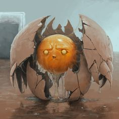 'Possessed Egg' by Daniel Sherekin ( Monster Art, Monster Design, Creature Concept Art, Creature Design, Fantasy Kunst, Fantasy Art, Character Design Inspiration, Game Art, Character Art