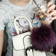 Pouf fur bag charm