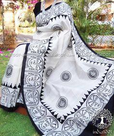 Elegant Designer Bishnupur Sik Saree with Hand Block Printed patterns . Saree Painting Designs, Fabric Paint Designs, Hand Painted Sarees, Hand Painted Fabric, Cotton Saree Designs, Block Print Saree, Wedding Saree Collection, Fabric Painting, Block Painting