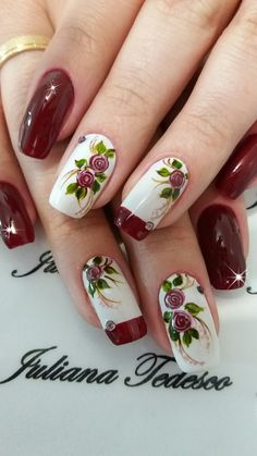 Best Cute Nails Inspiration Arts for Prom (Coffin Nails, Matte Nails) - Page 42 of 70 - Diaror Diary Nail Designs 2017, Nail Art Designs, Red Nails, Hair And Nails, Maroon Nails, Fall Nails, Party Nail Design, Nails Design, Linda Nails