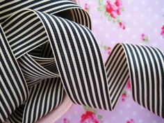 Black and Ivory Stripe Grosgrain Ribbon at Sugar Pink Boutique!