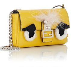 Fendi Women's Baguette Micro ($1,550) ❤ liked on Polyvore featuring bags, handbags, flap purse, fendi bags, yellow handbags, beaded purse and fendi purses