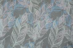hellgrauer elastischer Baumwollstoff mit Feder Federn 50 x 145 cm Nähen Stoff - Stofferia