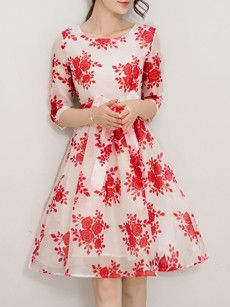 Floral Printed Bowknot Lace Up Courtlike Round Neck Skater-dress