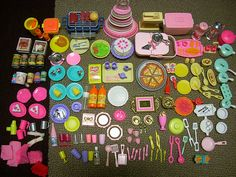 Barbie kitchen accessories and food lot