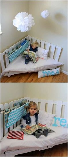 Incredible DIY Pallet Furniture for Kids---Pallet Reading Chair. Go to the site to be able to look at other wood pallet furniture examples. Incredible DIY Pallet Furniture for Kids---Pallet Reading Chair. Making Pallet Furniture, Diy Kids Furniture, Furniture Decor, Furniture Design, Bedroom Furniture, Furniture Stores, Furniture Plans, Furniture Outlet, Discount Furniture