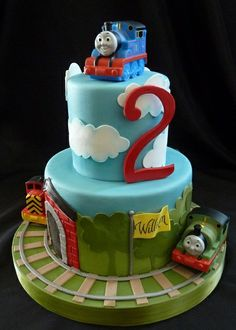 Thomas the Train cake for my nephew's birthday.i could definitly make a verison of this (with funfetti cake and buttercream) Thomas Birthday Parties, Thomas The Train Birthday Party, Trains Birthday Party, Train Party, 3rd Birthday, Thomas Birthday Cakes, Birthday Ideas, Cupcakes, Cupcake Cakes