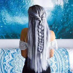 Life is but a dream. 🐚 🌊 🐚 Get this look by mixing our Silver Semi Permanent Dye with a white conditioner. Shimmering mermaid hair from Gabs Dormio. #HairInspo #HairGoals #Braids #BraidedHair #BraidGoals #SilverHair #SilverHairDontCare #BeachHair #BeachBraid #Pastel #PastelHair
