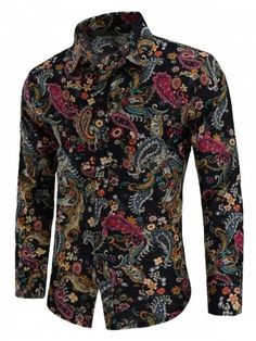 pujingge Mens Shirt Long Sleeve Hipster Print Slim Fit Button Down Dress Shirts