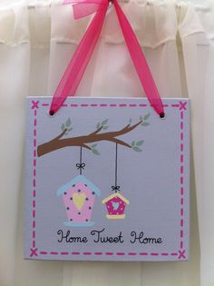 Handmade 'Home tweet home' wooden plaque on Etsy, £10.50