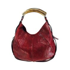 a1fa9138fb3f Yves St Laurent Rive Gauche Mombasa horn handle bag in wine leather YSL