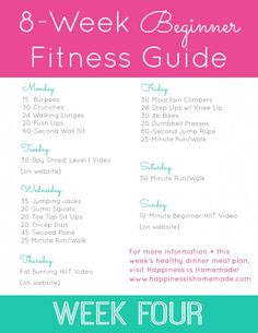 Beginner Fitness Jumpstart: Week 4 - Happiness is Homemade