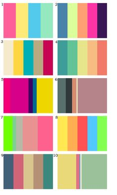 Color Palettes with an 80's/90's themes.   Couple of things:   There seems to be a common pattern of fuschia's, blues, greens and yellows in 80's color palettes of varying hues. I think this could work to our advantage!  There doesn't seem to be a general consensus on 90's color palettes, I see a lot of different colors and no schemes that are very flattering. I'll keep looking if need be, though!