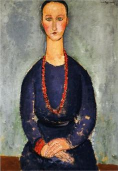 Woman with a Red Necklace by Amedeo Modigliani, 1918. Portrait. Expressionism.