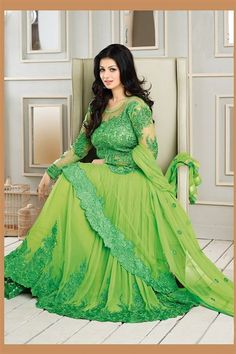 Vivacious Ayesha Takia Pastel Green Georgette Heavy Embroidered Long  Anarkali Suit