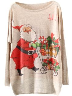 Apricot Santa Claus Gift Print Sweater 18.33