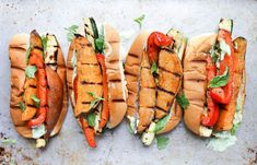 Grilled sweet potato and veggie sandwiches.