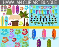 Summer Clip Art - Hawaiian Clip Art Bundle Graphics - Digital Hawaii Clipart - Beach, Banner, Surfboards, Flowers, Tiki Bar