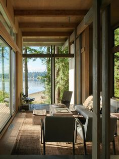 This view Cabin at Longbranch by Jim Olson Photo by Kevin Scot - Architecture and Home Decor - Bedroom - Bathroom - Kitchen And Living Room Interior Design Decorating Ideas - Interior Architecture, Interior And Exterior, Architecture Student, Exterior Trim, Classical Architecture, Timber Cabin, Modern Lake House, Forest Cabin, Famous Architects