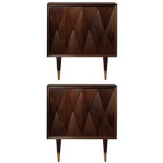 Pair of Italian Walnut Side Tables | From a unique collection of antique and modern side tables at http://www.1stdibs.com/furniture/tables/side-tables/