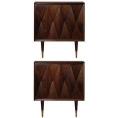 Pair of Italian Walnut Side Tables  Italy  1950's  A pair of walnut side tables with diamond motif front and brass feet on legs, Italian C. 1950's