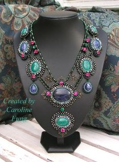 Created by Caroline Fung.  Exclusive gorgeous necklace in blue  colours. Fits for evening apparel and casual outfit. elegant, royal, rich, luxury. Bead embroidery.