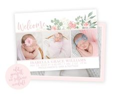 Newborn Birth Announcements, Birth Announcement Template, Baby Girl Announcement, Birth Announcement Photos, Welcome Baby Girls, Christmas Card Template, Baby Birth, Heart Designs, Watercolor Design