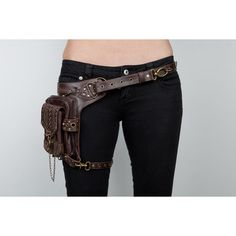 blaster 3.0 brown (895 BRL) ❤ liked on Polyvore featuring accessories, belts, bags, weapons, steampunk, brown belt, brown leather belt, leather strap belt, wide brown belt and chain belts