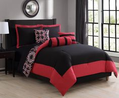 10 Piece Lena Red/Black Reversible Bed in a Bag Set