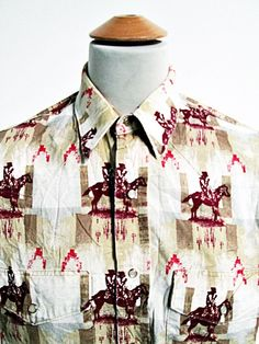 Vintage AMAZING Horses Pattern Cowboy Western Shirt L Large