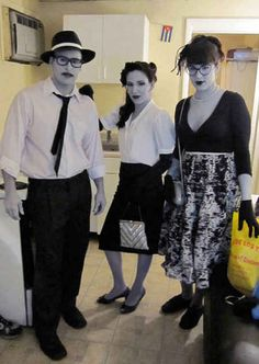 Black-and-white film characters | 25 Clever Halloween Costumes To Wear As A Group