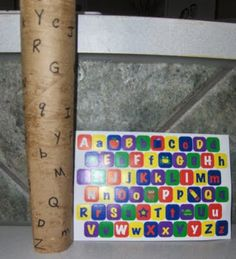 Paper Tube & Sticker Letter Matching. Use about 10 letters at a time on a toilet paper roll.