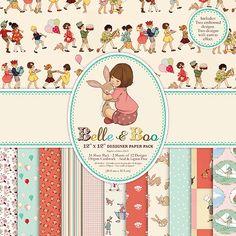 """Set de papeles de aire retro e infantil """"Belle & Boo"""""""