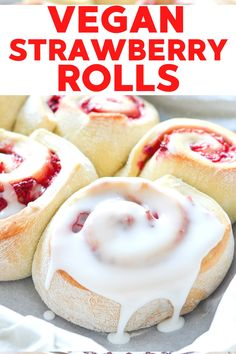 This vegan strawberry sweet rolls are easy to make and downright decadent. This easy recipe makes rolls that are soft, fluffy, oozing with sticky, sweet strawberry filling, and covered in loads of tangy lemon frosting. These tasty treats are ready in a little over 1 hour....Grab your rolling pin because it's time to get baking! #strawberrysweetrolls #strawberry #breakfast #dessert #recipe #lemon Vegan Baking Recipes, Healthy Dessert Recipes, Smoothie Recipes, Breakfast Recipes, Breakfast Dessert, Vegan Breakfast, Strawberry Roll Recipe, Strawberry Filling, Strawberry Breakfast