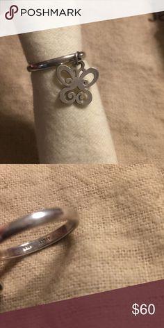 James Avery dangle butterfly ring Sz 5 Sterling. Normal wear James Avery Jewelry Rings