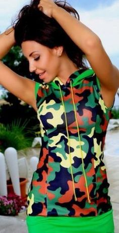 Wearing camouflag make you look more lovely and sleeveless can also show your sexy,bodycon dresses make your good figure showed to ohers,you can wear it in your free time or go to beach,patchwork make you more fashion,which is vrey suitable to you.Get one you like.