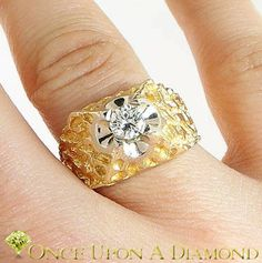 Man's 1/2 Carat Diamond Solitaire Nugget Ring in 14K Gold