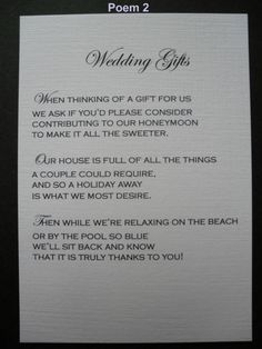 50 handmade personalised wedding gift poem verse cards politely asking for money More Source by mbec Wedding Gift Poem, Wedding Gifts For Bride, Wedding Quotes, Personalized Wedding Gifts, Wedding Advice, Wedding Wishes, Bride Gifts, Our Wedding, Wedding 2017