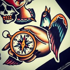 compass old school tattoo traditional