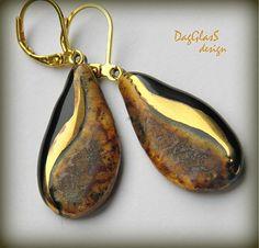 DagGlasS / Originálne keramické náušnice...v zemitých odtieňoch so zlatom