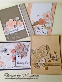 #Charlotte Four Card set using four more of the six double sided papers. The flowers (Springtime Wishes Stamp Set & Thin Cuts) were stamped in different colours and/or on different coloured card stock . Endless Possibilities.