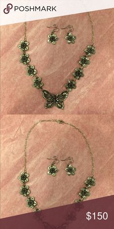 "Necklace & Earring Set Diamond Cut Pewter Victoria Secret Pink Yoga Pants SZ Small - Flower 🌺 & Butterly Pattern - Necklace is 19"" Long Jewelry Necklaces"