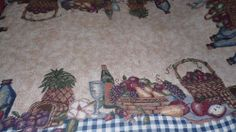 TAPESTRY LOOK TABLECLOTH BLUE CHECKERED/TAN/FRUIT/WINE BOTTLE DESIGN NWT